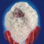 Парик (длинный) и борода Санта Клауса цвета слоновой кости