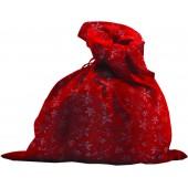 Мешок красный бархат со снежинками