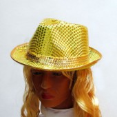 Шляпа желтая паетками
