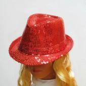 Шляпа красная паетками