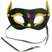 Полумаска Кошка  черно-золотая