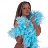 Боа страусиное 180 см. окружность 15 см. голубое