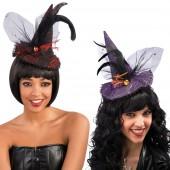 Мини шляпка ведьмы с пером и вуалью