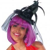 Мини-шляпка ведьмы с паучками на вуали высота 17 см.