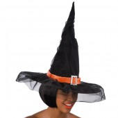 Шляпа ведьмы из ткани с вуалью и оранжевой каймой высота 45 см.