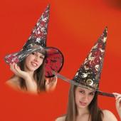 Шляпа Ведьмы высота 40 см. 2 цвета: черный с золотом и черный с серебром