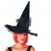 Шляпа Ведьмы высота 40 см с черными перьями