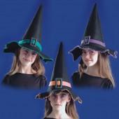 Шляпа Ведьмы 3 цвета в ассортименте высота 35 см детская