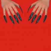 Десять накладных ногтей черных длина 6 см