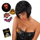 Заколка Хэллоуин светящаяся на картоне модели в ассортименте с батарейками